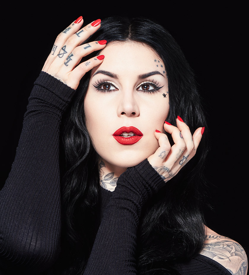 Kat Von D in red lipstick